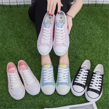 Classic canvas shoes with small white shoes Candy colored student loafers