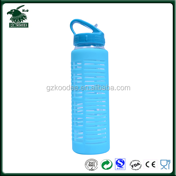 2017 LFGB Approval High Quality Glass Water Bottle Colorful Portable Glass Drinking Bottle Sport