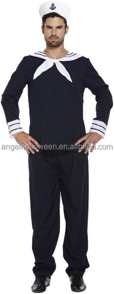 Men Sailor Complete Outfit Hat Navy Fancy Dress Officer Marine Seaman Halloween Costume AGM4183