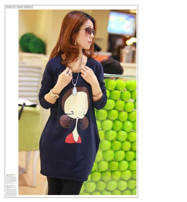 2014 new Top spring autumn fashion casual loose big yards Sweatshirts Maternity cartoon printed knit pullover pregnant
