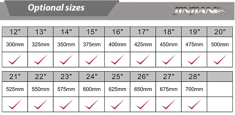 Factory Provide Goodyear Wiper Blade Size Chart