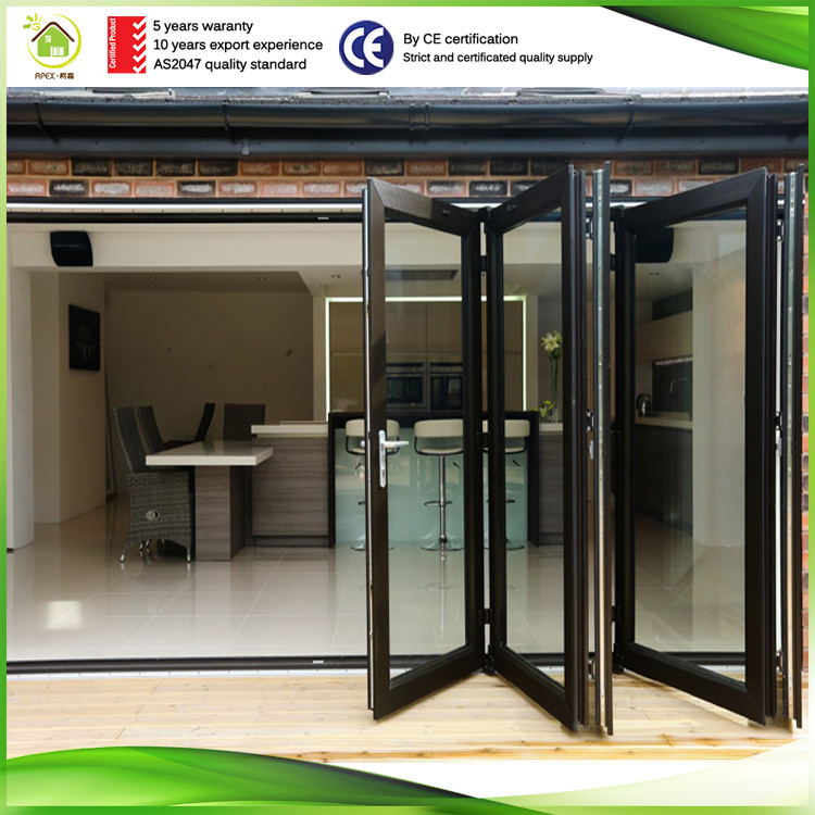 wood grain aluminum folding glass door film