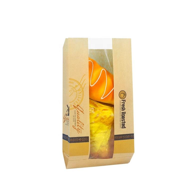 食品グレードベーカリー包装カスタマイズ茶色のクラフト紙袋のためのロールで明確な窓