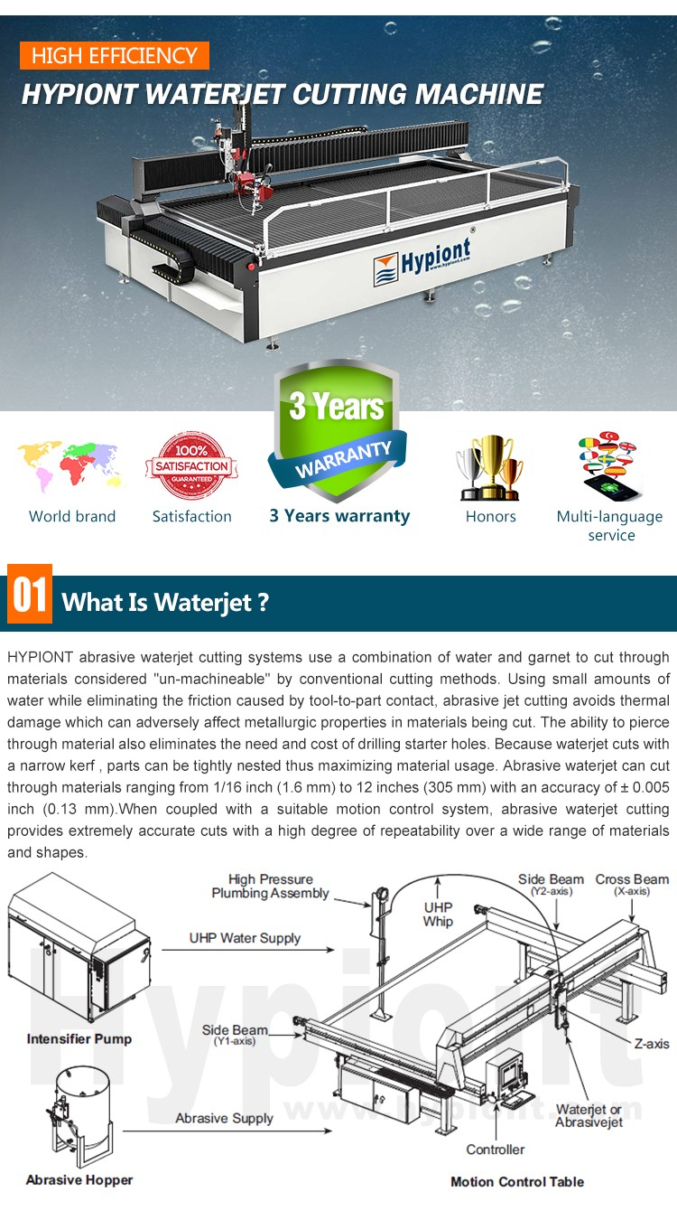 High precision low cutting cost waterjet cutting machine with CE TUV ISO9001 certifications and 3 Years warranty
