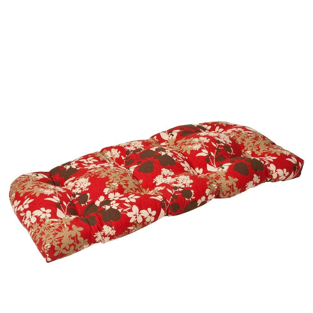 Pillow Perfect Indoor/Outdoor Red/Brown Floral Wicker Loveseat Cushion