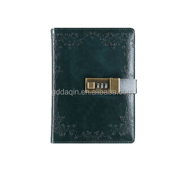 2018 special design PU leather diary notebook, journal notebook with lock, journals and notebooks