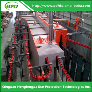 Entire automatic powder coating machine with spray pretreatment