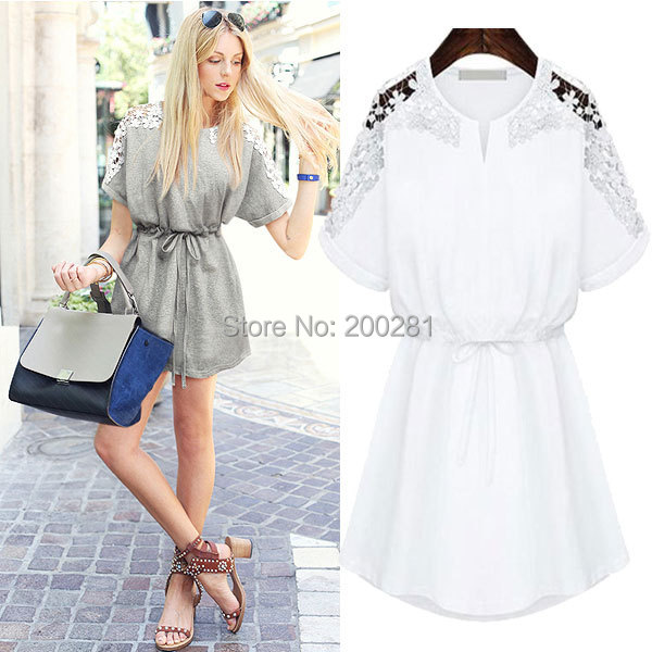 Sexy Lace Floral Short Sleeve Casual Party Mini Dress For Women Summer Sexy Lace Floral Casual Short Sleeve Mini Dress Vestidos