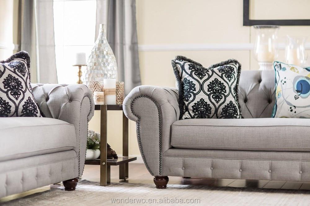 Living Room Furniture America Style Gray Fabric Modern