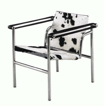 Replica French Country Chair Furniture Stainless Steel Pony Skin Le  Corbusier Basculant Chair LC1