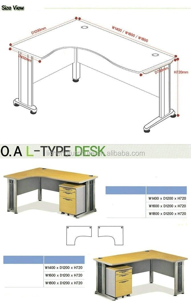 L sahped melamina escritorio de oficina oficina est ndar for Medidas estandar de escritorios de oficina