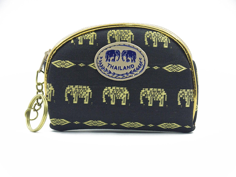 Thai Style Cosmetics Bag Elephant Pattern card holder makeup bag (Black)