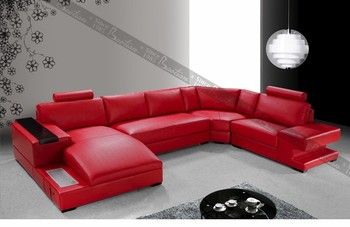 Modern red leather sectional sofa for home furniture Germany Design with LED Light for home : red leather sectional - Sectionals, Sofas & Couches