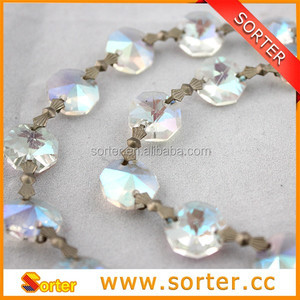 clear wedding beaded crystal garland crystal beads chain octagon