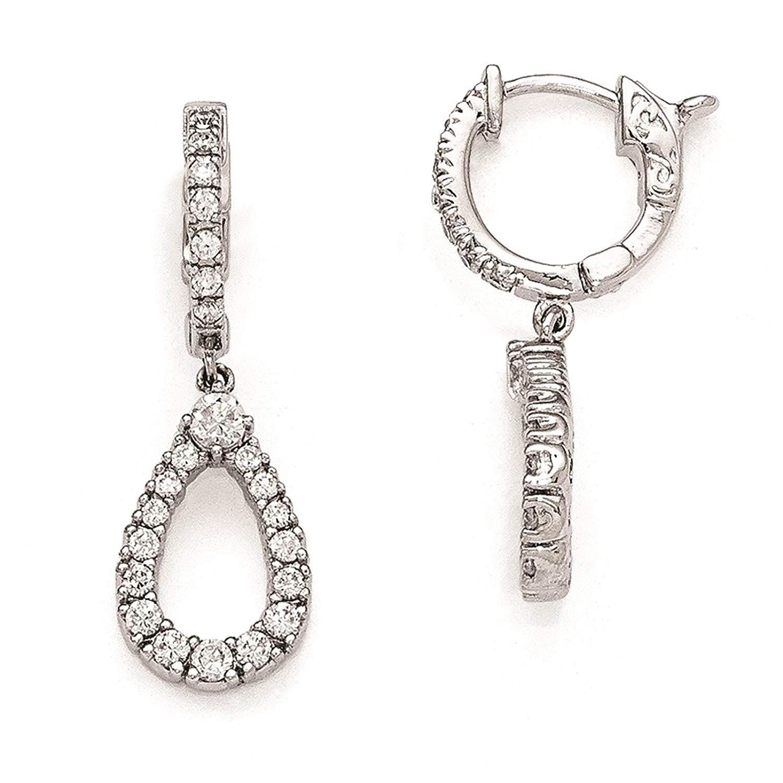 .925 Sterling Silver Rhodium-plated CZ Hinged Hoop Dangle Teardrop Earrings by Sterling Shimmer