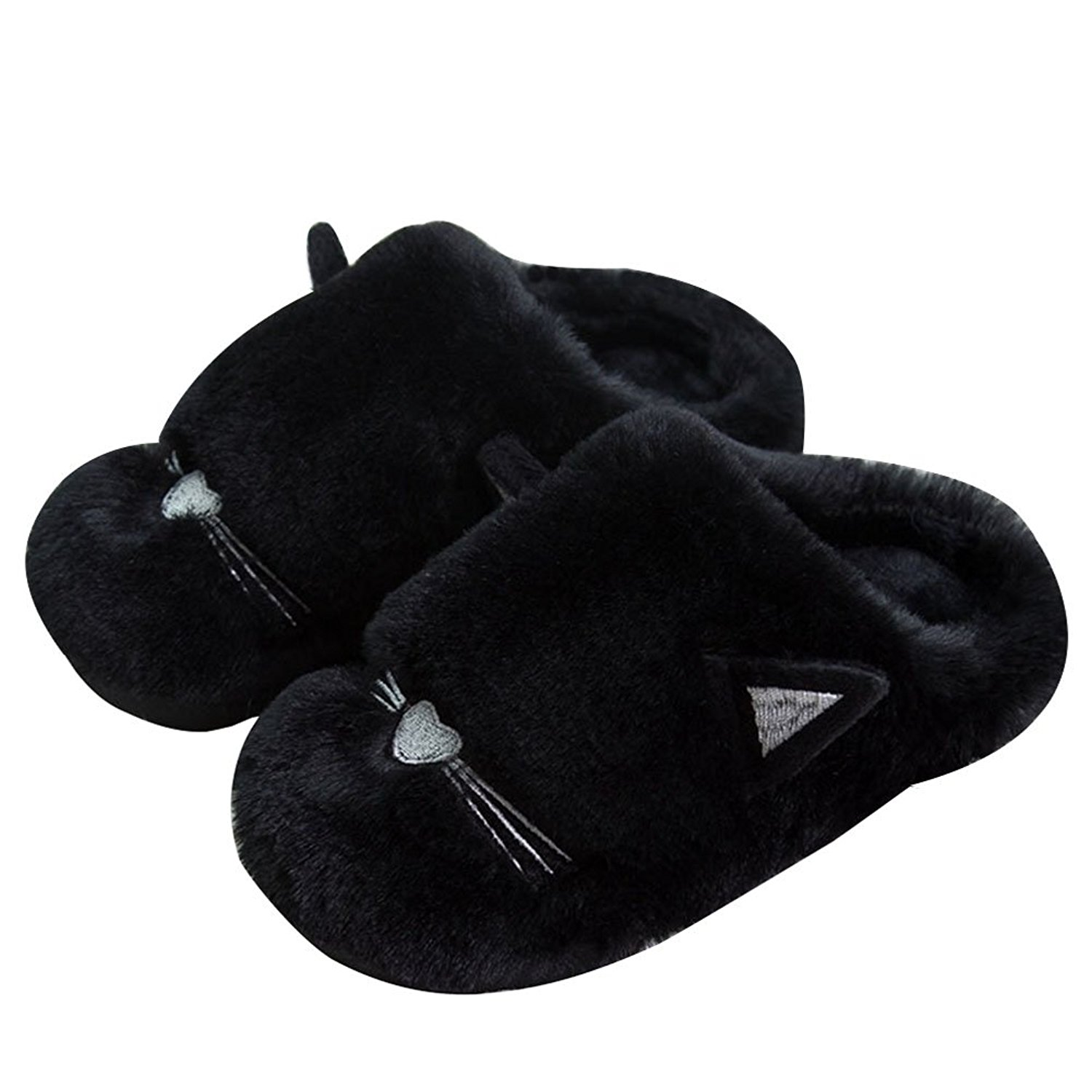 09961be9147 Get Quotations · Womens Mens Soft Winter Fur Home Slipper Anti Slip Cartoon  Cats Velvet Indoor Couple Suede House