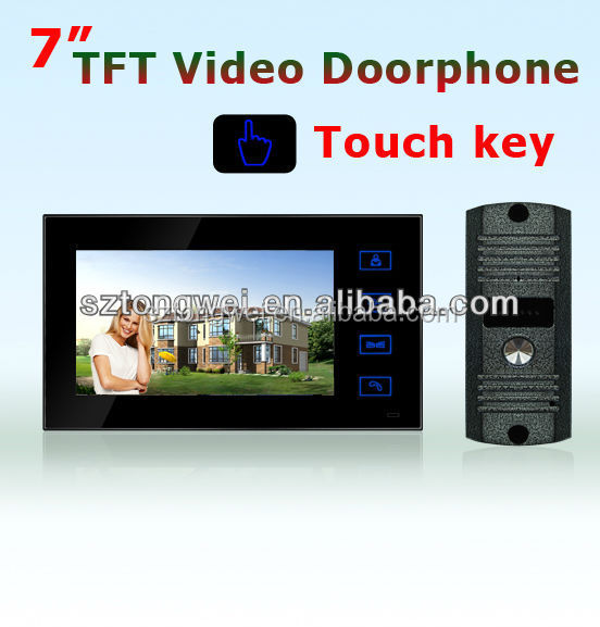 7 inch 4 wired clolor TFT LED touch buttons design video door phone/ one system support 2 out door units to 4 indoor monitor
