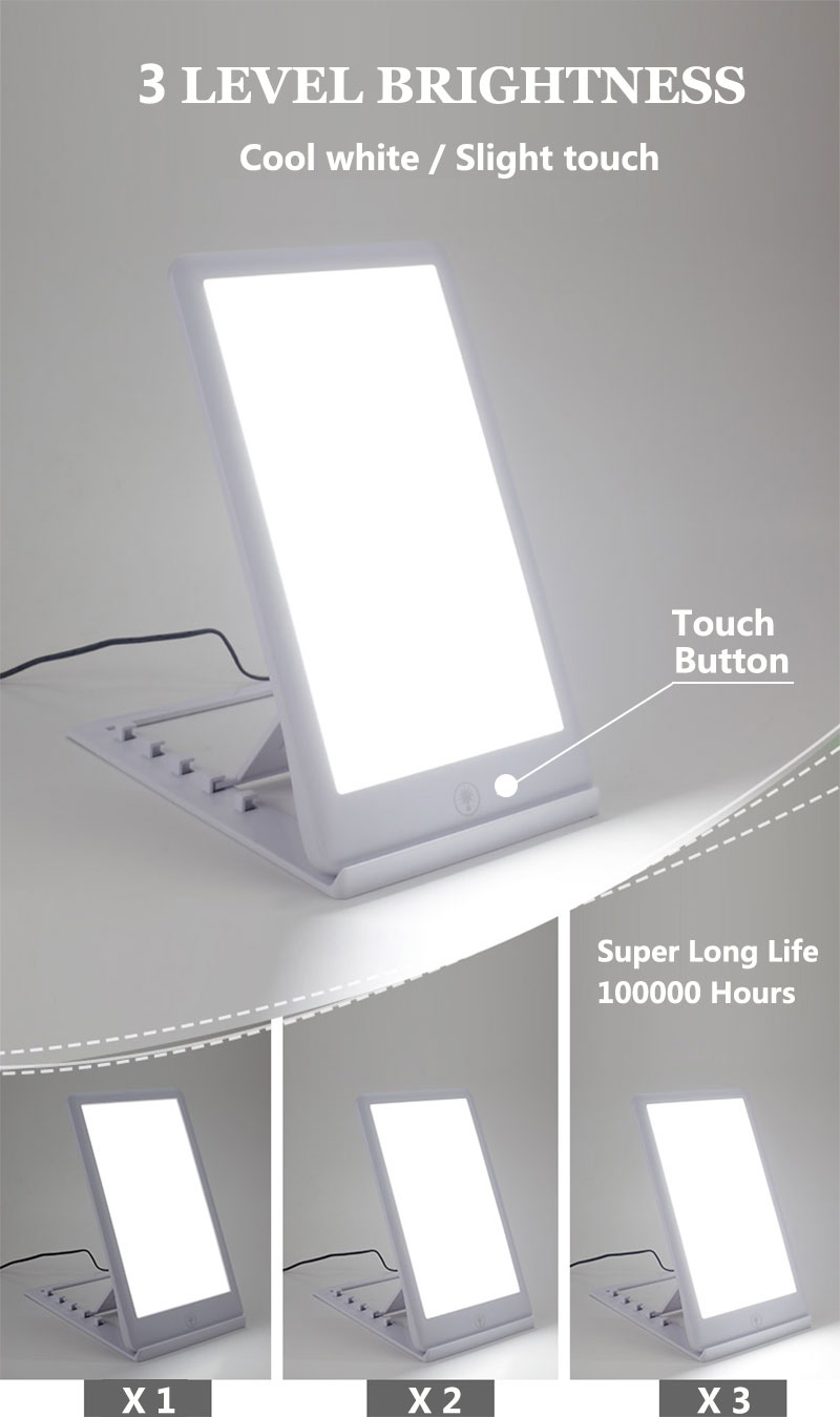 10000 LUX led panel hearth lighting cool white lighting color  sad light therapy lamp