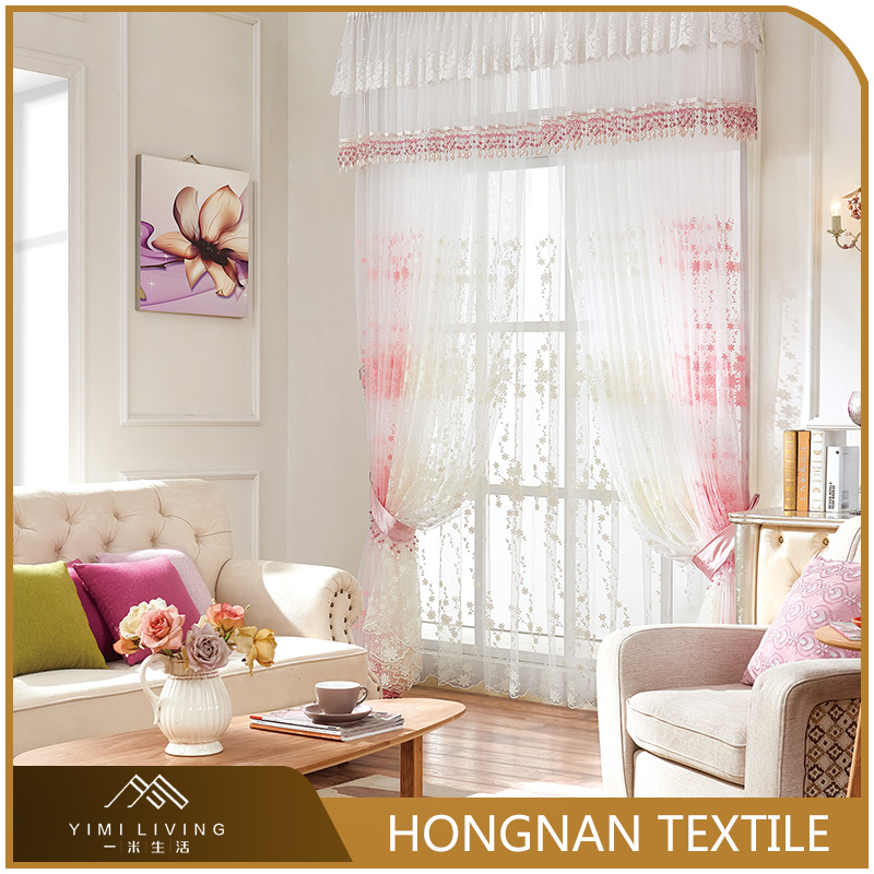 Elegant polyester embroidery white voile sheer curtains sets for the living room
