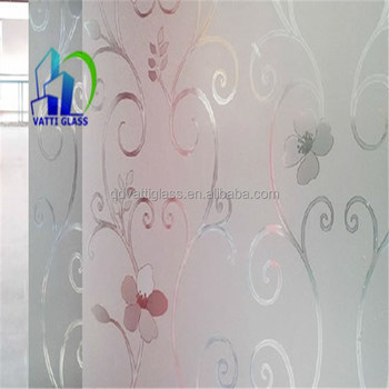 Acid Etched Door Glass Wall Decorative Panels Tempered Acid Washed Frosted  Glass Shower Wall Panels