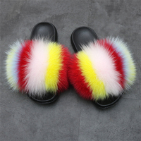 Adults slippers with fox furFashion Design Colorful High Quality Soft Fur Slippers Real Fox Fur Slides For Lady