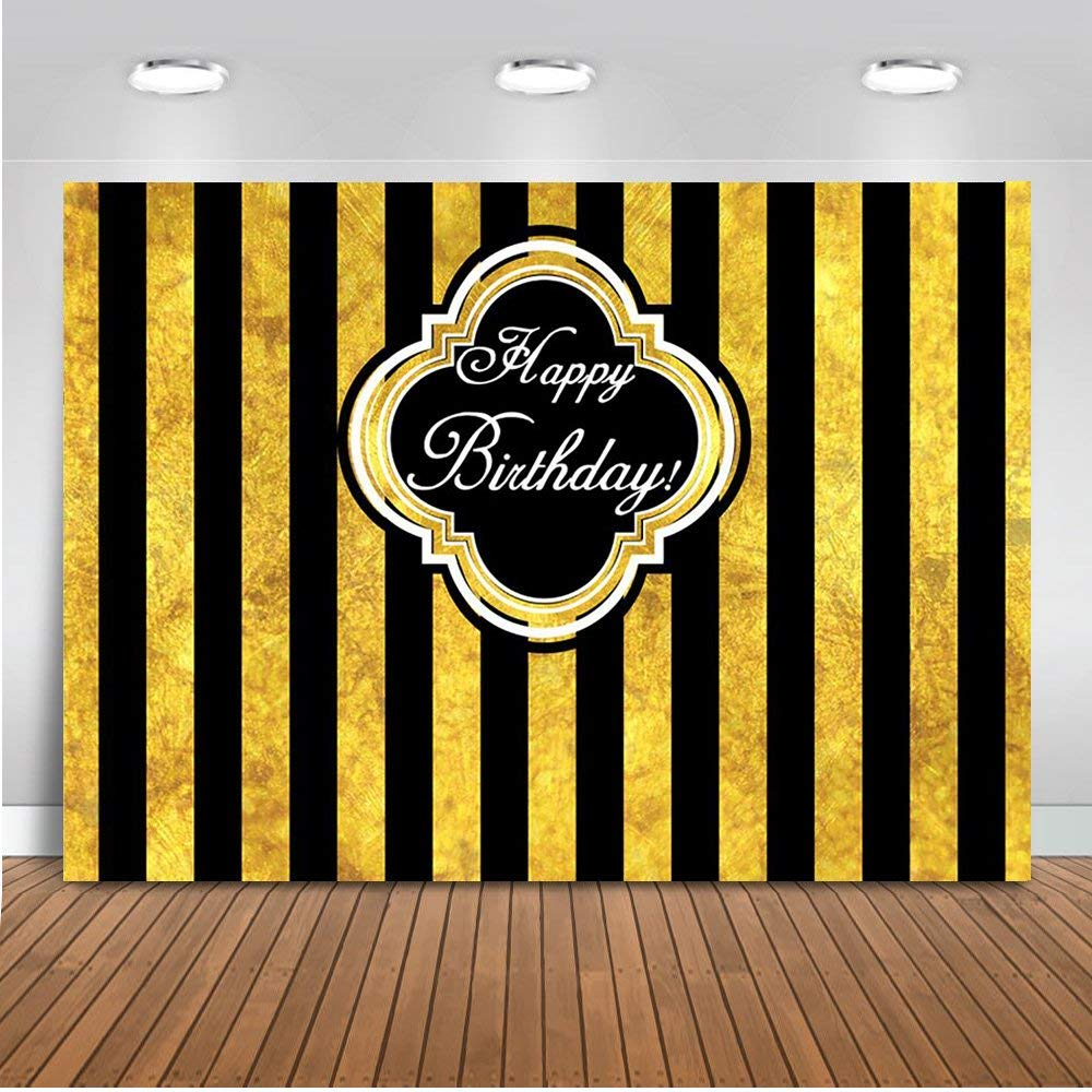 Mehofoto Black and Gold Stripes Backdrop Happy Birthday Photography Backdrop 7x5ft Poly Cotton Child Kids Women Birthday Party Decoration Background