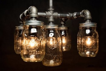 Five mason jar metal pipe light chandelier ceiling for Black pipe light fixture