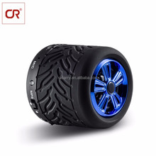Car Accessories Tyre Shape Round ABS Metal Quality Sound Portable Passive Bluetooth Speaker