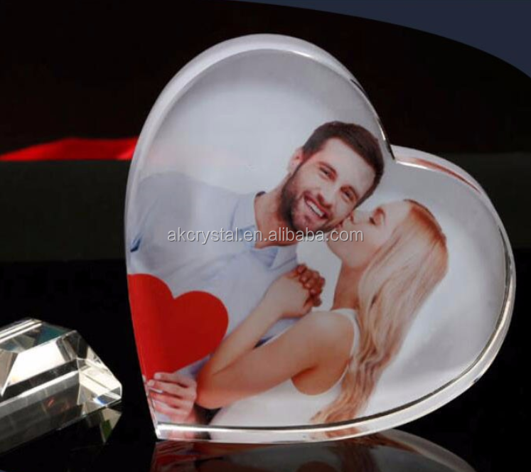 Beautiful top quality cheap price birthday gifts color image crystal cube photo frame for souvenirs