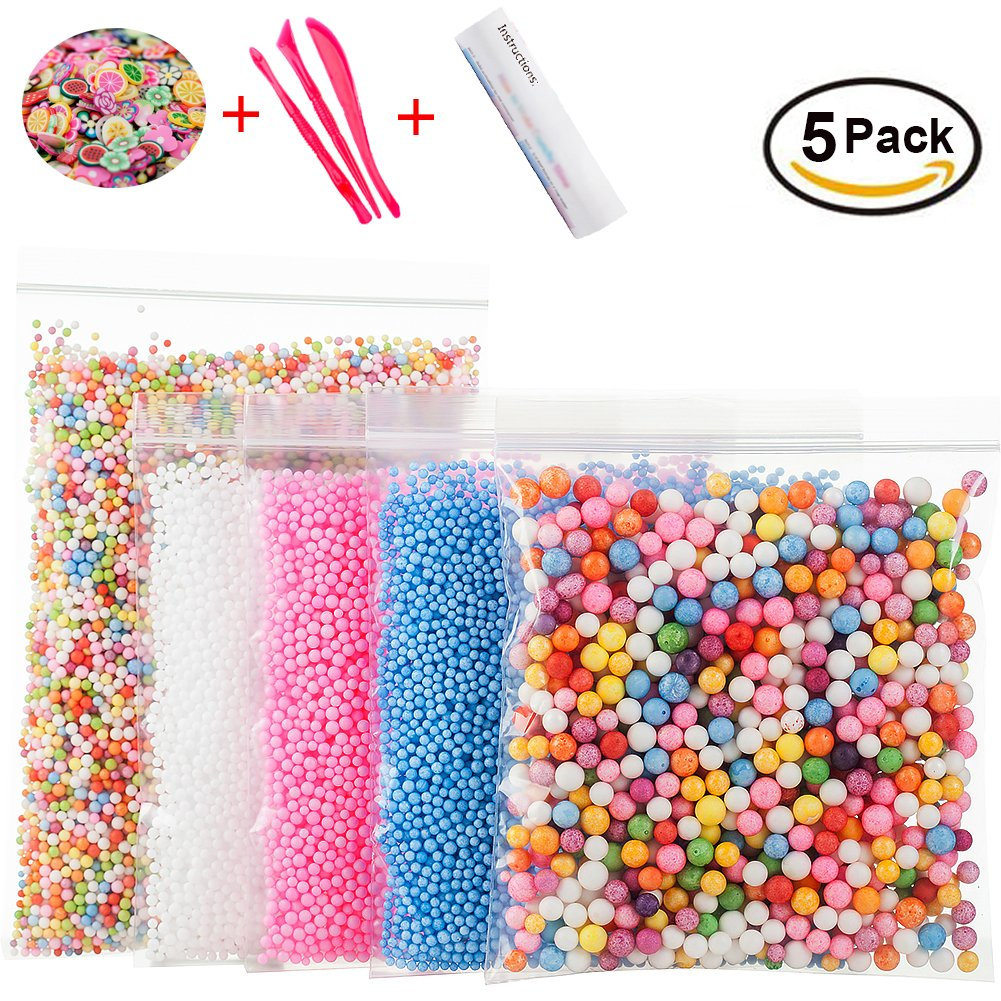 Foam Beads for DIY Slime – Craft Styrofoam Balls 0.1-0.35 inch(47000pcs) for Kids Homemade Slime, Home Decorative, Wedding and Party Decorations (5 Pack)