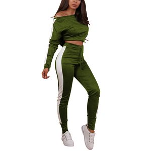 Wholesale New Arrive Gym Sports Stitching Green Crop Tops Full Pants Sweat Suits