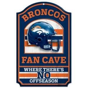 Denver Broncos Wood Sign - 11in x 17in Fan Cave Design