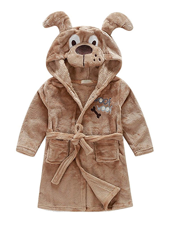 Little Boys Girls Coral Fleece Bathrobe Cute Cartoon Animal Pajamas  Sleepwear with Hood 952436008