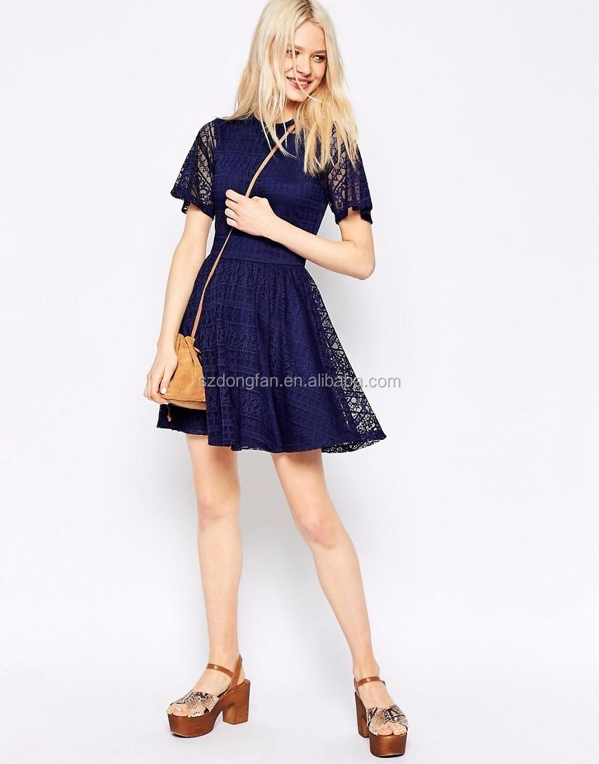 e56f3c9dc Venta caliente rodilla azul vestidos elegantes telas africanas del cordón  vestidos de partido atractivos