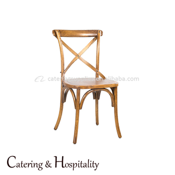 Metal Antique Iron X Back Side Chair Stackable Wedding Banquet Dining Cross