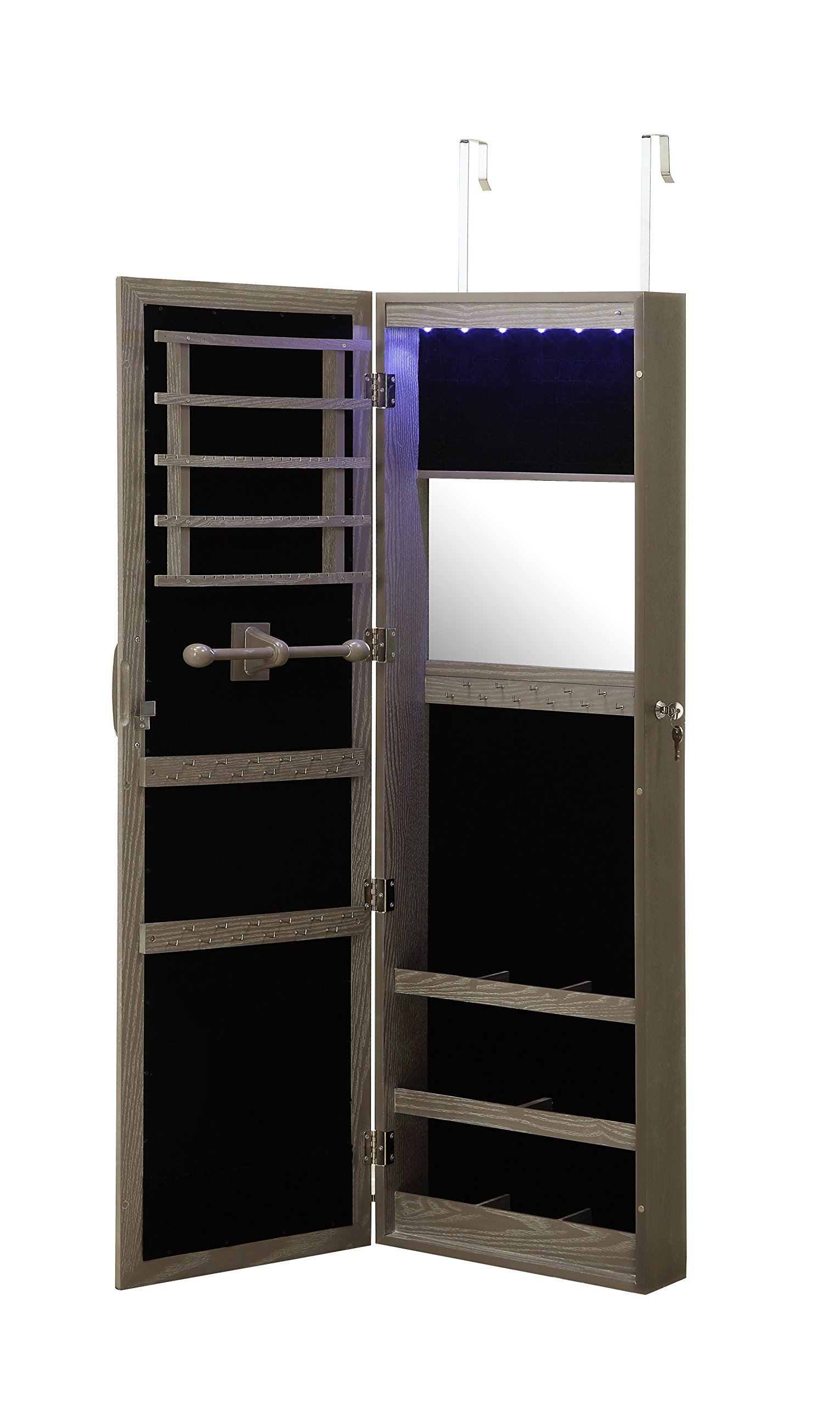 Get Quotations Lockable Wall Mounted Over The Door Jewelry Organizer Armoire Cabinet With Mirror And Led Lights By