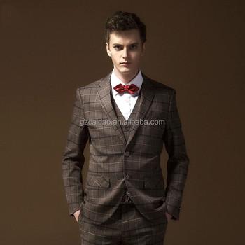 Korean Style Tailored Plaid Wedding Suits Men Slim Fit 3 Piece - Buy ...