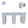 Classical nail manicure table white color marble top double nail art table with suction