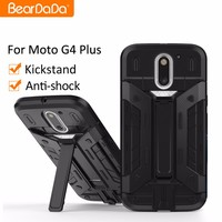 Kickstand card holder bumper shockproof phone case covers for moto g4 plus