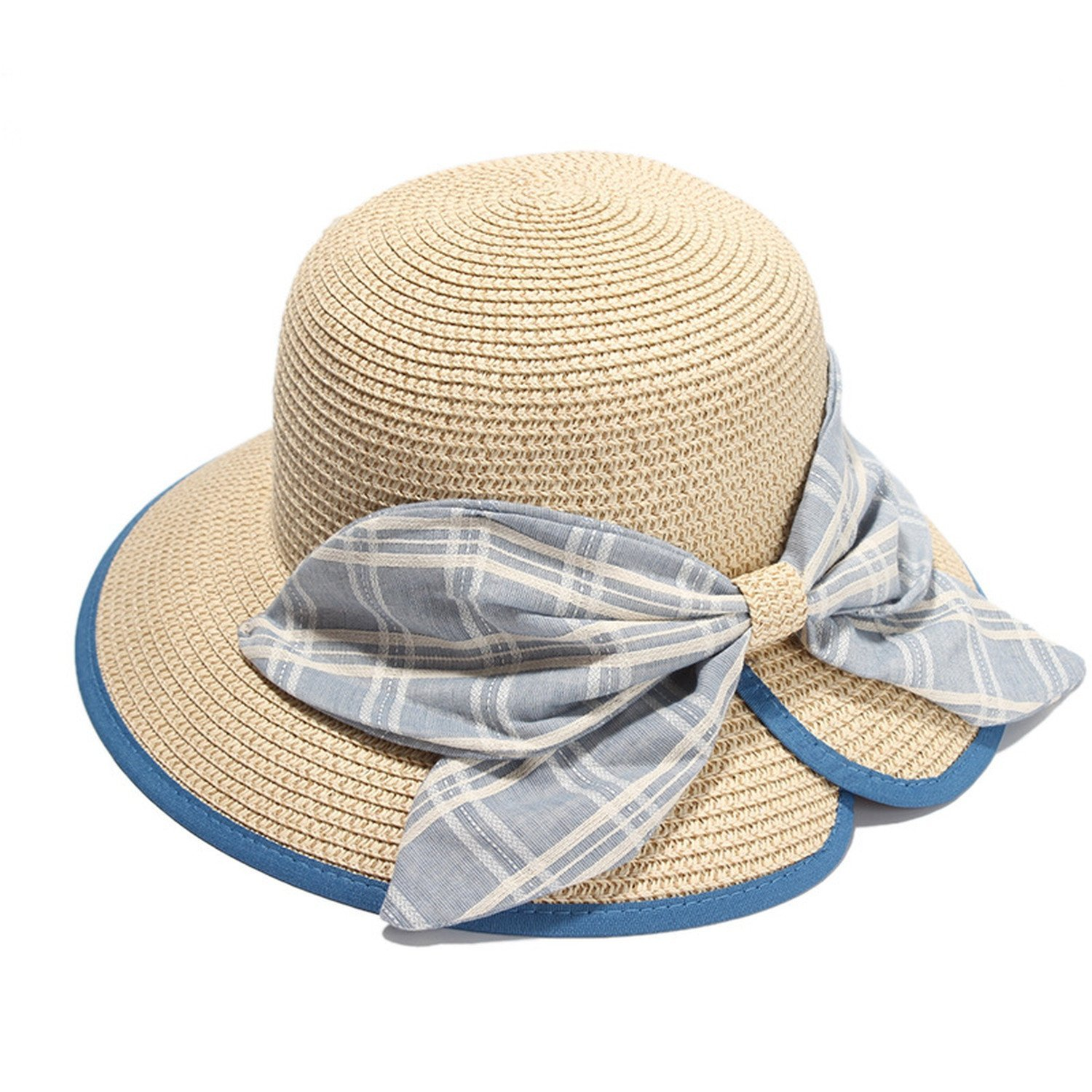 Buy Sllxgli spring and summer ladies straw hat lady bow sun hat in ... bf2d92b6a32