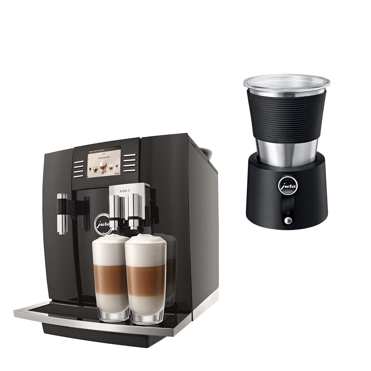 Jura 15066 Automatic Coffee Machine Giga 5, Piano Black with Automatic Milk Frother