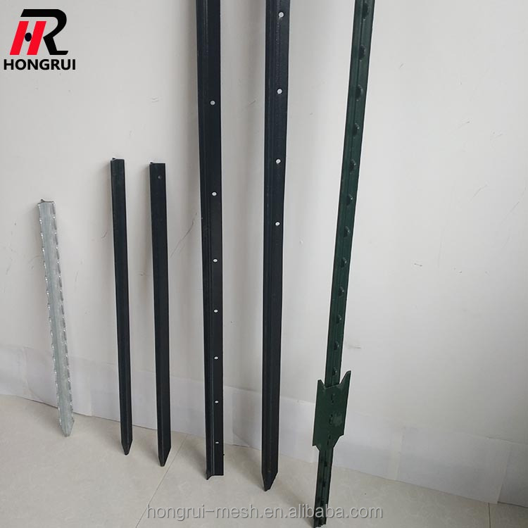 Factory price galvanized bitumen painted hot rolled steel fence T post Canada Type