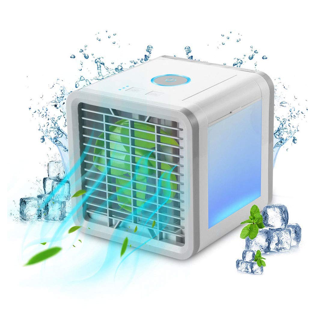 Portable Air Conditioner Fan,Personal Air Cooler, 3-in-1 USB Mini Air Cooler Humidifier and Purifier,3 Speeds and 7 Colors LED Light for Family Outdoor Travel