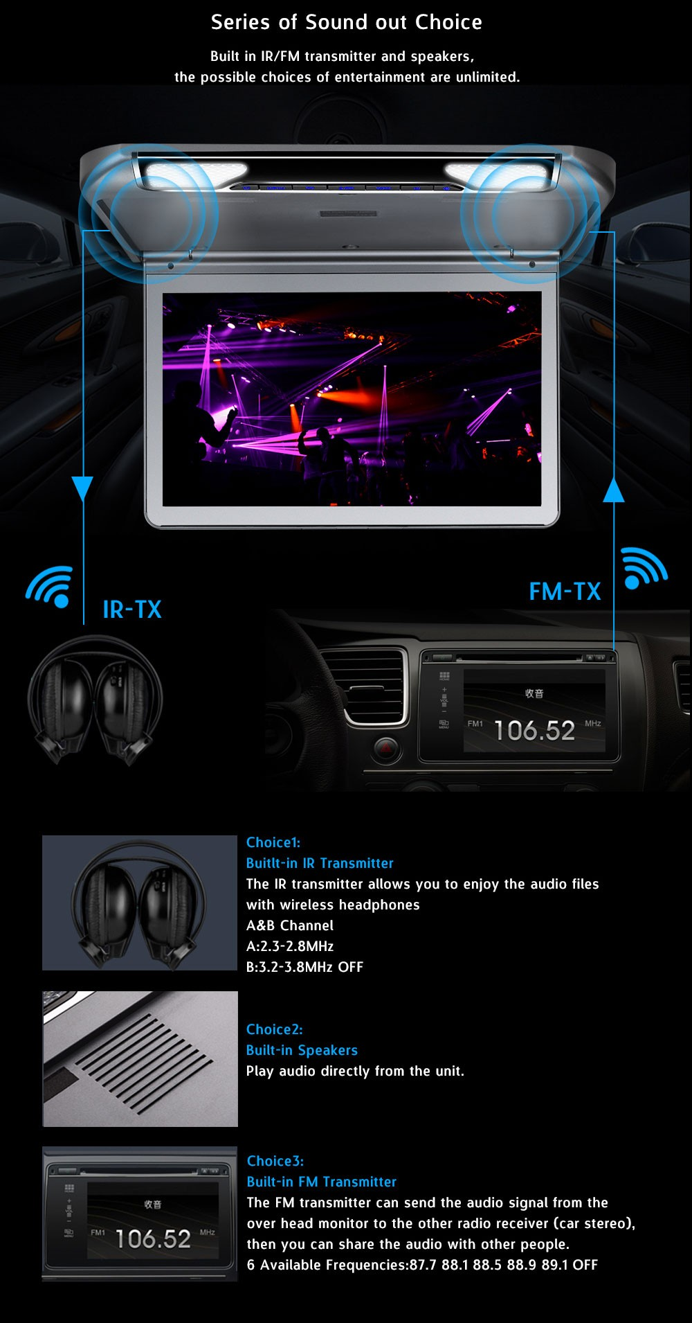 12v 1080p 17inch /15 inch tft lcd car tv/19 inch flip down car monitor  overhead full hd car mp5