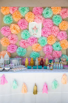 First Birthday Party Idea Pastel Tassel Garland Tissue Paper Pom Poms Dessert Tables Decorations Kids