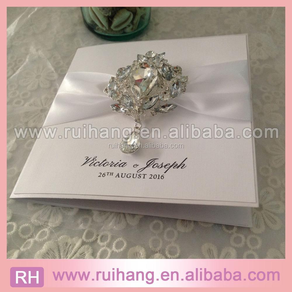 Luxury Big Diamond Pendant White Ribbon And Shiny Paper Fold Wedding