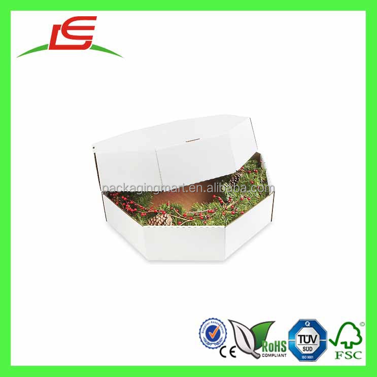 q1387 customized printed octagonal wreath boxes wholesale wreath shipping storage boxes