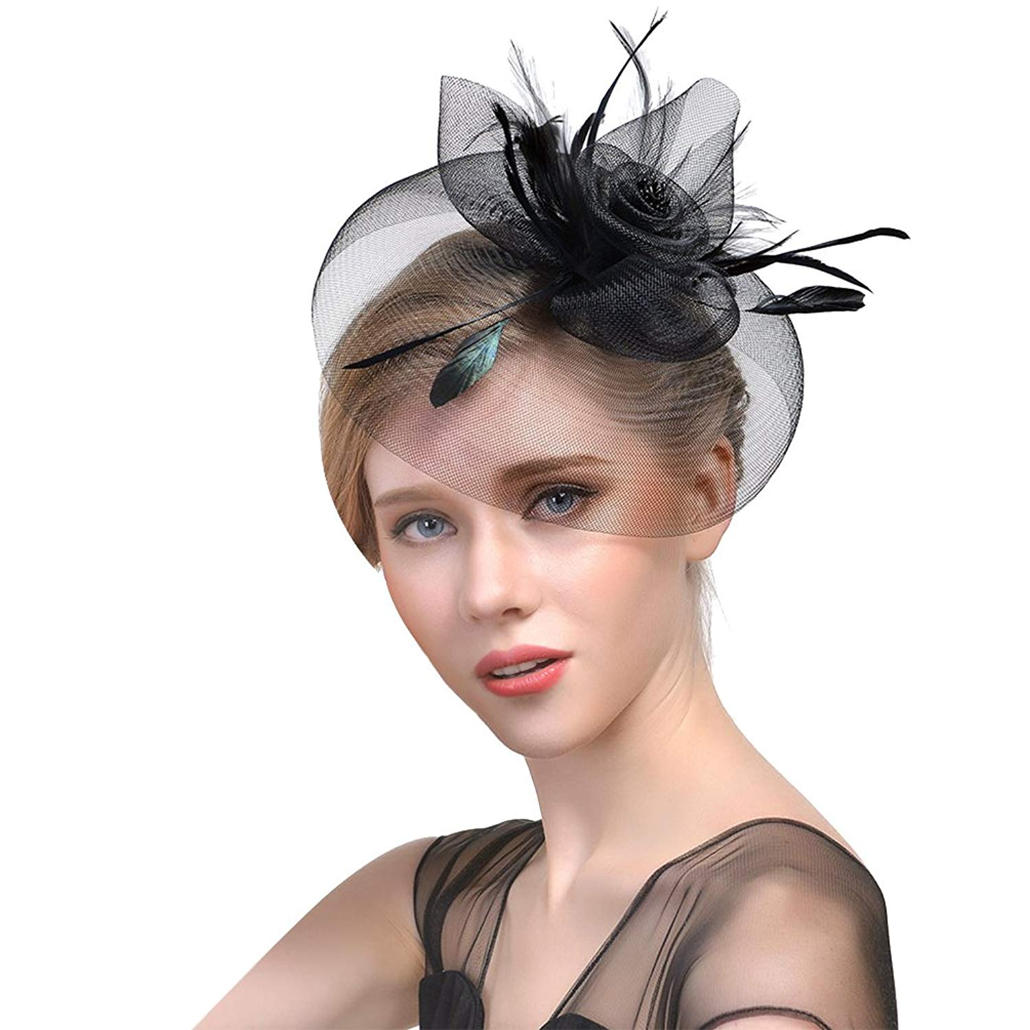 675604ea590 Get Quotations · VBIGER Fascinators Hat Women Tea Party Headwear Cocktail  Flower Mesh Feather Headband Wedding Bridal Top Hat