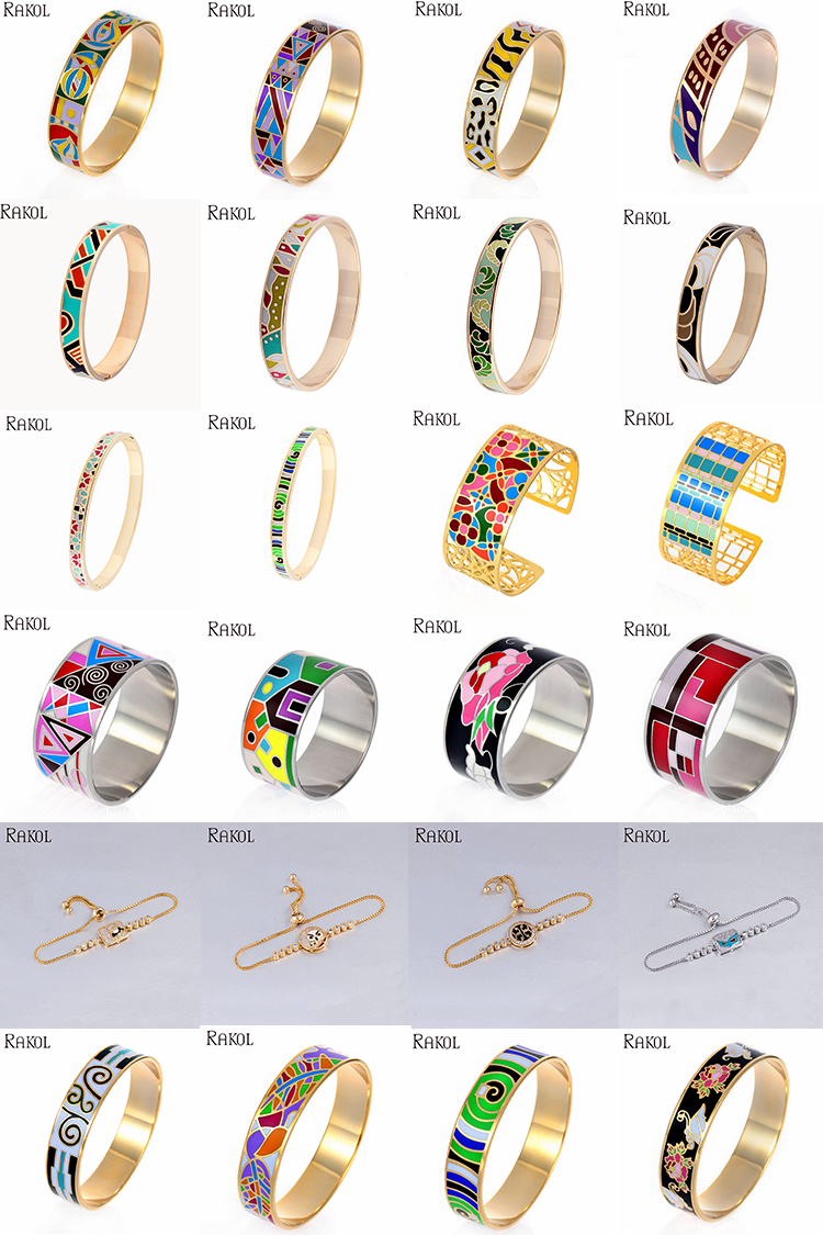 RAKOL classique 18k plaqué or bijoux en acier inoxydable émail fait main bracelet EB040