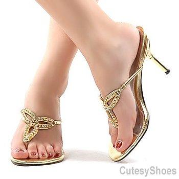 62dd95e09 On Thong Rhinestone Dress Heel Silver - Buy Dress Heel Shoe ...